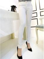 กางเกงขายาวสีขาวแฟชั่น