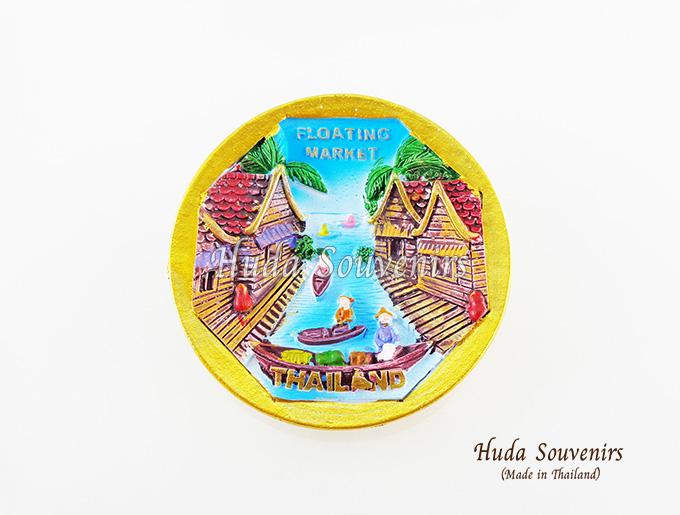 Magnet แม่เหล็กติดตู้เย็น วัสดุเรซิ่น ลายไทย ลวดลายตลาดน้ำไทย ปั้มลายเนื้อนูน ลงสีสวยงาม สินค้าพร้อมส่ง
