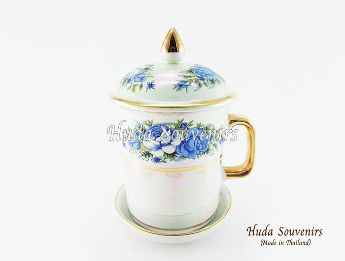 ของที่ระลึก แก้วมัคเบญจรงค์ ลวดลายดอกกุหลาบ ผิวเคลือบมุข สินค้าพร้อมส่ง (ราคาไม่รวมกล่อง)