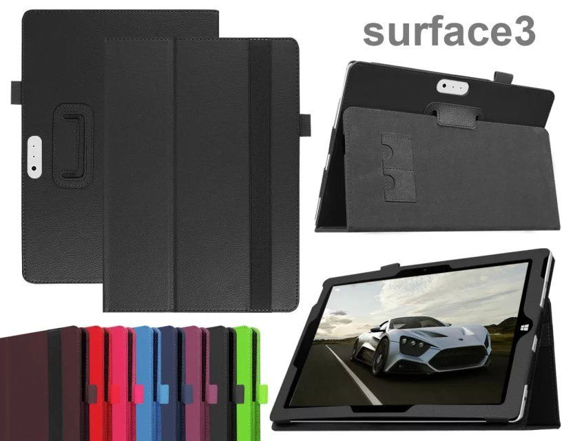 Leather Cover Case with elastic For Microsoft Surface 3