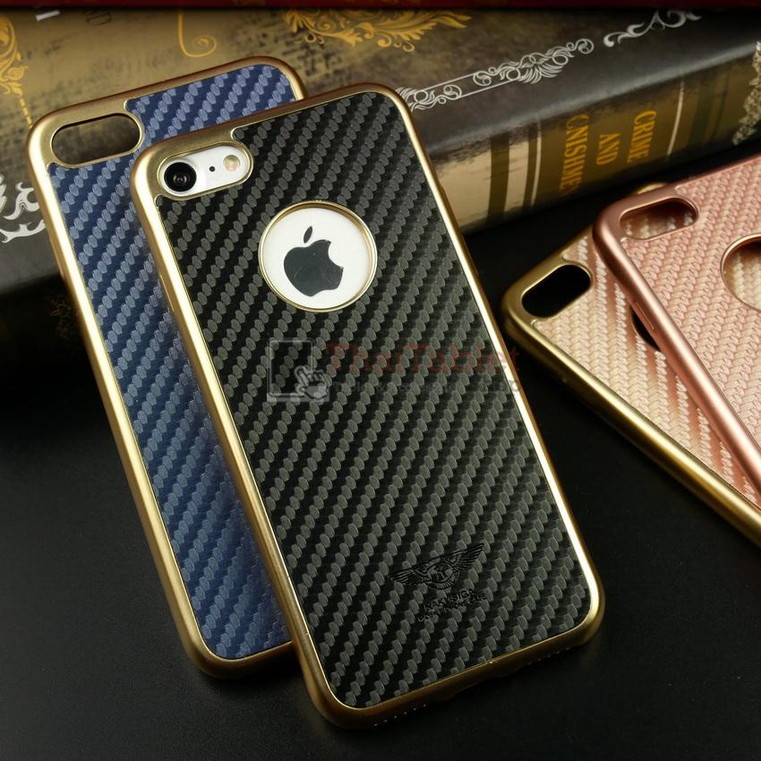 iKaku เคสครอบหลังลายเคฟล่าขอบสีทอง For Apple iPhone 7