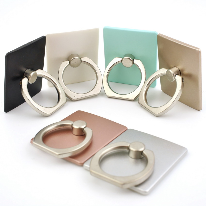 แหวนติดหลังเครื่องมือถือ ทรงเหลลี่ยม ตั้งได้ หมุนได้ คล้องได้