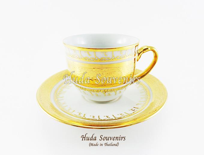 ของที่ระลึก แก้วกาแฟเบญจรงค์ ทรงกลม ลวดลายทองสร้อย ลายเนื้อนูนเคลือบผิวเงา สินค้าพร้อมส่ง (ราคาไม่รวมกล่อง)