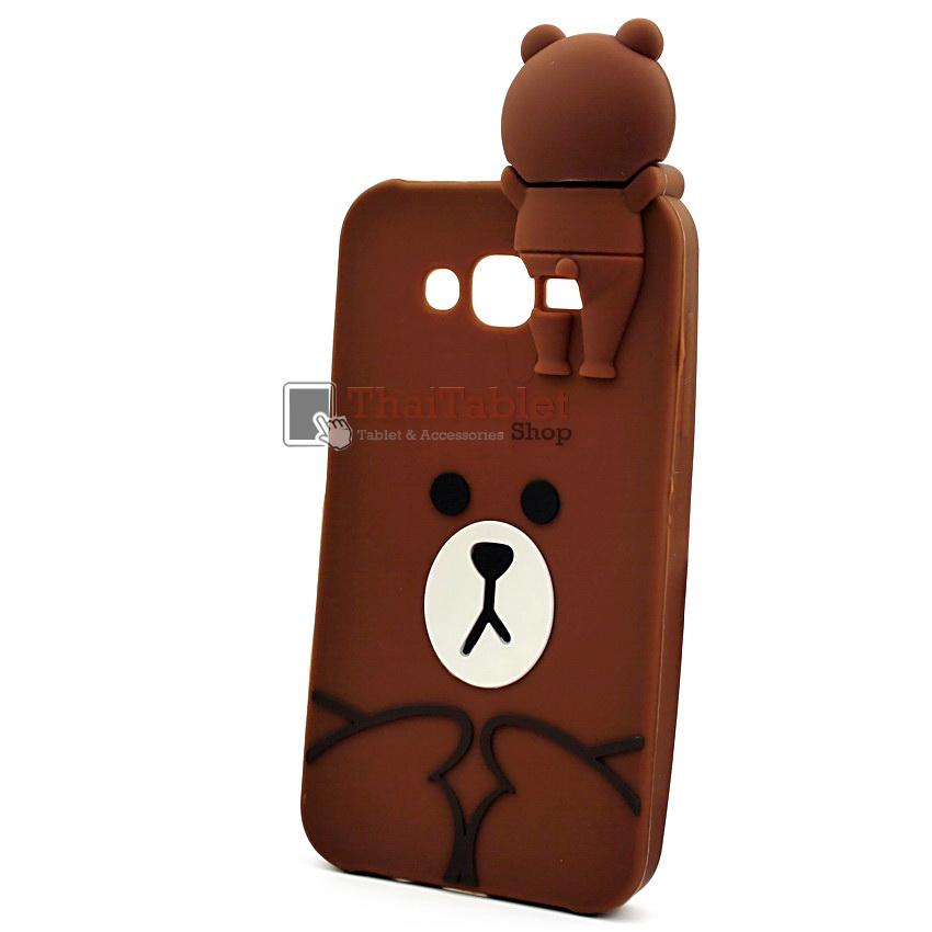 เคสยางครอบหลังหมี Brown Samsung Galaxy J7