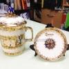 ผลงาน แก้วมัคเบญจรงค์ช้างรวงข้าว สกรีนโลโก้ทอง จานรอง
