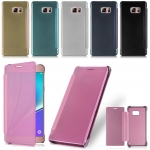 เคส Samsung Galaxy Note FE รุ่น Clear View Mirror Leather Flip Stand Cover