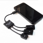 - 3 Port Micro USB Power Charging OTG Hub Cable For Android & Windows Tablet Smartphone สำเนา