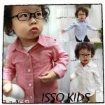 เสื้อผ้าเด็กเกาหลี ISSO KIDS เสื้อเชิ้ต แขนยาว ลายสก็อต สีแดง( Size 9 )