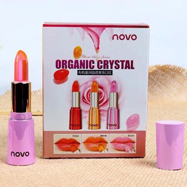 Transparent โนโว Jelly ลิปเปลี่ยนสีกลิ่นหอมๆ ลิปออแกนิคเจลลี่ Lipstick Novo Organic ให้ความชุ่มชื่นดูสุขภาพดี Crystal